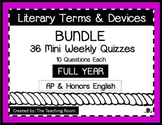 Literary Terms Quizzes FULL YEAR BUNDLE (AP & Honors English)