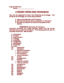 Literary Terms - English Grade 9
