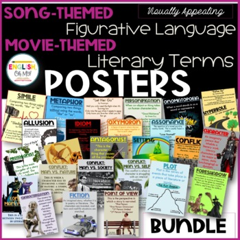 Literary Terms & Figurative Language Posters, $BUNDLE$