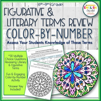 Literary Terms, Figurative Terms Review, End of Year, Color by Number