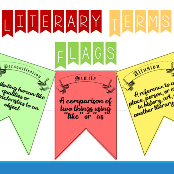 Literary Terms Flags (Color and B&W Available)