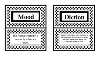 Literary Terms- Flash Cards OR Grouping Cards