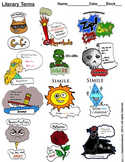 Literary Terms Guide, Worksheet, and Bonus 4-Piece Clip-Art!