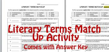 Literary Terms Match-Up Activity with Answer Key
