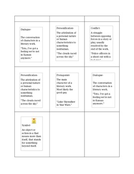 Literary Terms Matching Card Game