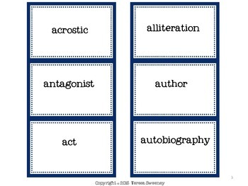 Literary Terms Memory Game for Grades 3-6
