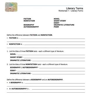 Literary Terms Micro Unit