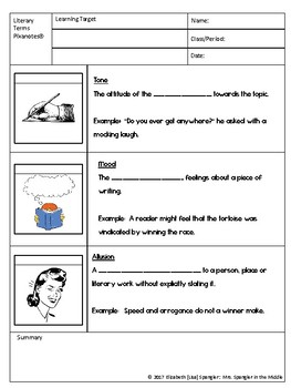 Literary Terms Mini-Unit:  Pixanotes, Dominoes, Word Wall, Task Cards & Tests!