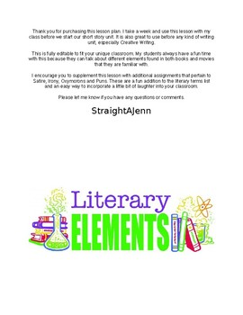 Literary Terms Notes and Test with Answer Key