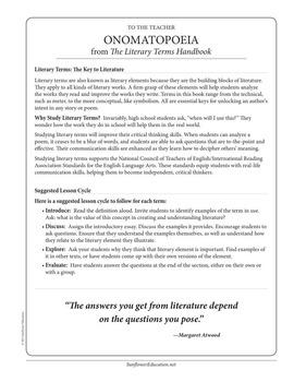 Literary Terms: Onomatopoeia—A Figure of Speech