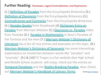 Literary Terms: Paradoxes, Contradictions, and Oxymorons (Minilesson)