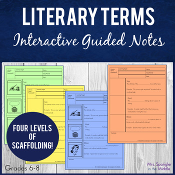 Literary Terms Pixanotes® with Dominoes Game!
