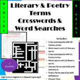 Literary Terms & Poetry Terms Crosswords, Word Searches Bu
