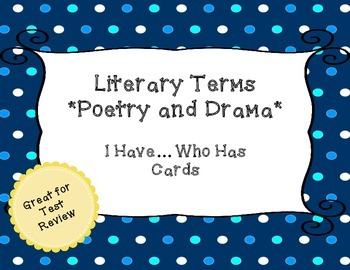 Literary Terms - Poetry and Drama - I Have, Who Has