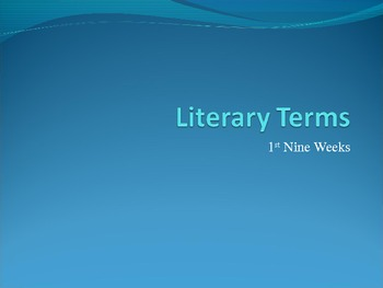 Literary Terms PowerPoint Quick Review