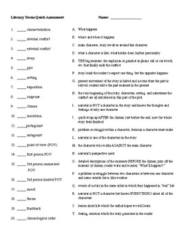Literary Terms Quick Assessment