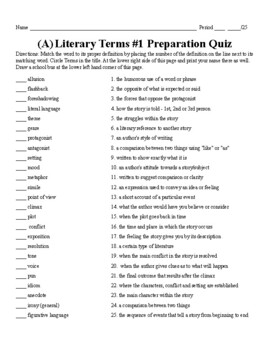 Literary Terms: Quizzes and Tests
