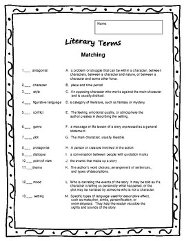 Reading Response Using Literary Terms for Any Novel or Short Story
