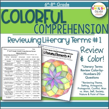 Literary Terms Review #1-Colorful Comprehension, Color by Number