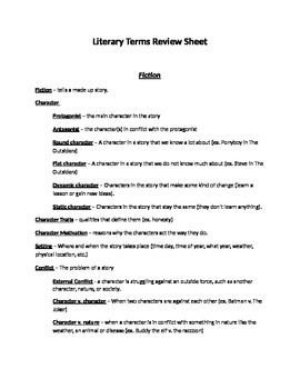 Literary Terms Review - Test Prep - Reading