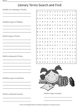 Literary Terms Word Search
