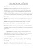 Literary Terms Study List