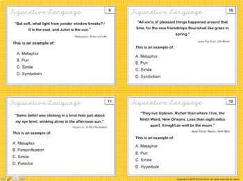 Literary Terms Task Cards and Quiz