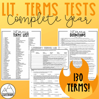 Literary Terms Test Bundle - Complete Year