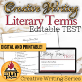 Literary Terms Test (Editable and Digital)