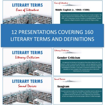 Literary Terms Units 1-12 Bundle (Definitions, Assignments, and Quizzes)