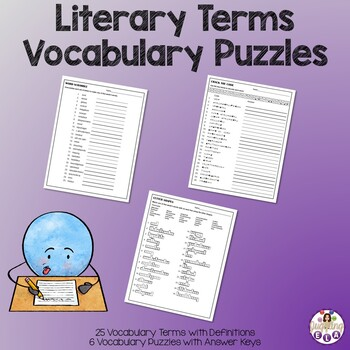 Literary Terms Vocabulary Puzzles