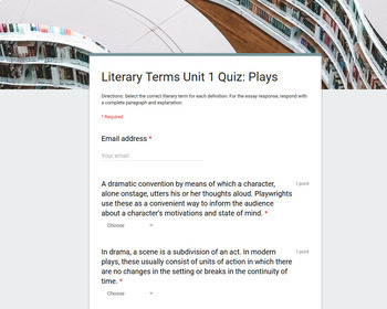Literary Terms Units 1-6 (Definitions, Assignments, and Quizzes)