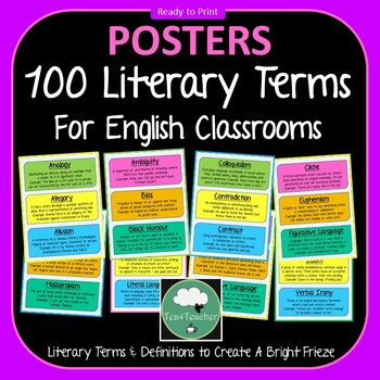 Literary Terms & Vocabulary for English Classrooms x 100 Frieze Colorful Display