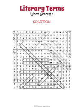 Literary Terms Word Search Puzzles