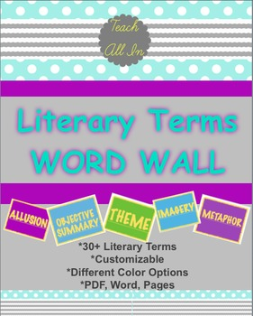 Literary Terms Word Wall