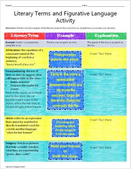 Literary Terms, Figurative Language Review Printable and Google Drive Activity