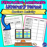 Literary Terms, Figurative Language Review Printable and G