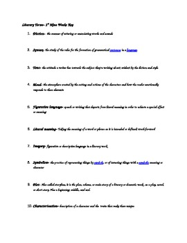 Literary Terms Worksheet with Two Tests