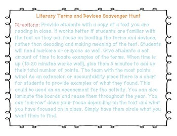 Literary Terms and Devices Scavenger Hunt