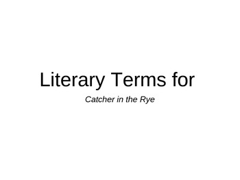 Literary Terms for Catcher in the Rye
