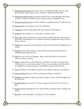 Literary Terms for Fiction Handout - Story Elements