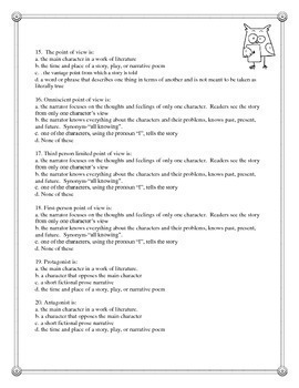 Literary Terms TEST - Story Elements of Fiction