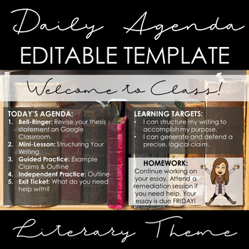 Literary Theme Agenda Template: EDITABLE!