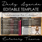 Literary Theme Agenda Template: EDITABLE!
