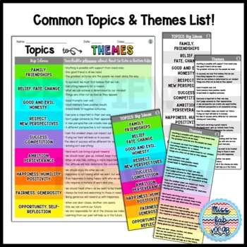 Literary Themes Anchor Chart