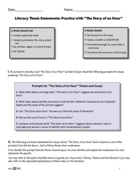 """Literary Thesis Handout and Worksheet/Key """"Story of the Hour"""" Bundle"""