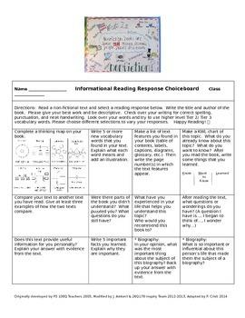 Literary and Informational Reading Response Choiceboard