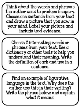Literary and Informational Task Cards
