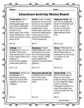 Literature Activity Choice Board