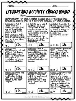Literature Activity Choice Board: 3rd -5th Grades